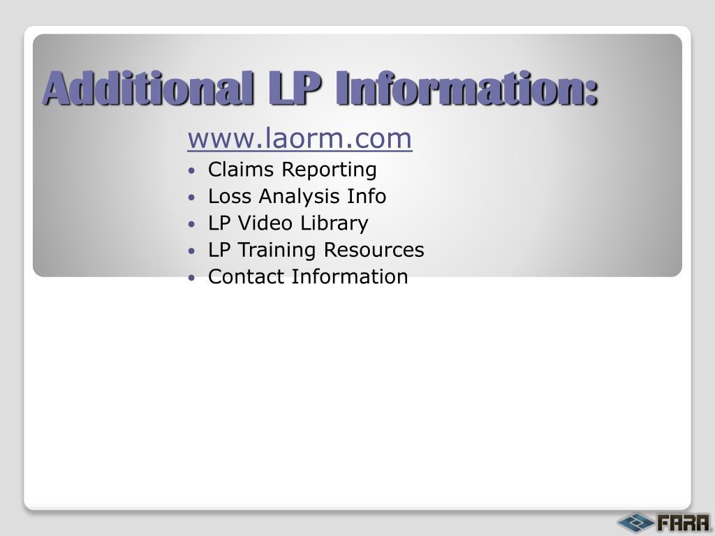 Additional LP Information: