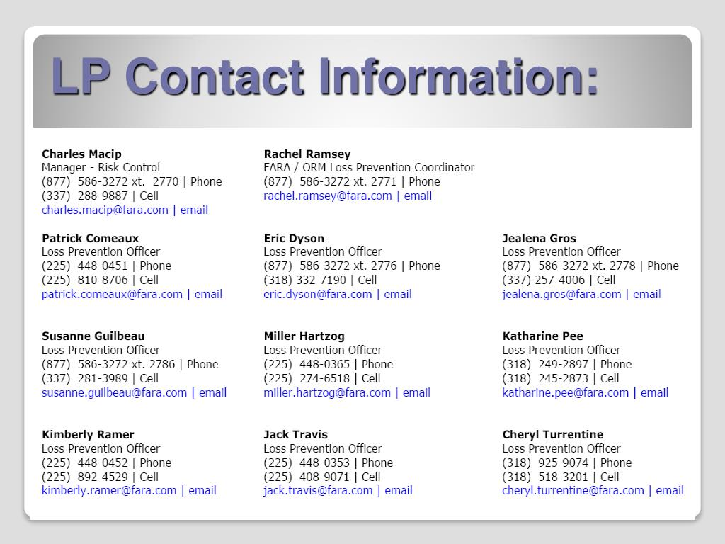 LP Contact Information:
