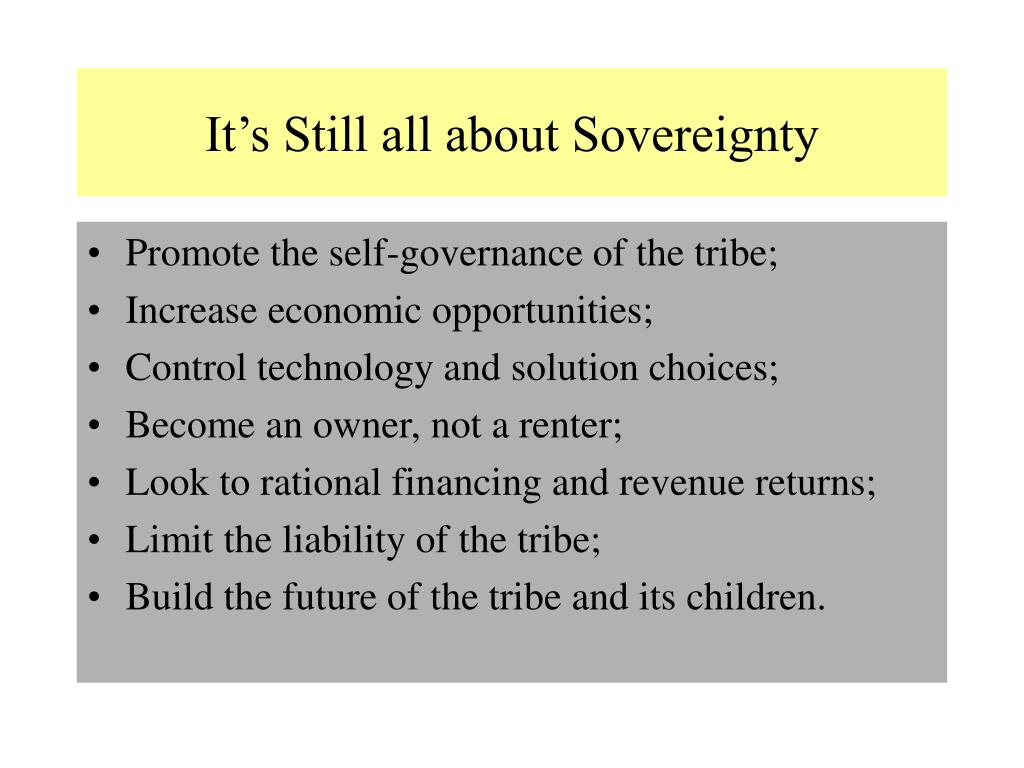 It's Still all about Sovereignty