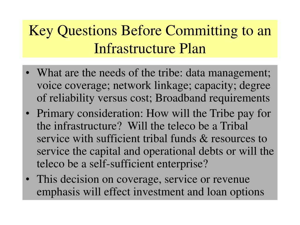 Key Questions Before Committing to an Infrastructure Plan