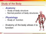 study of the body