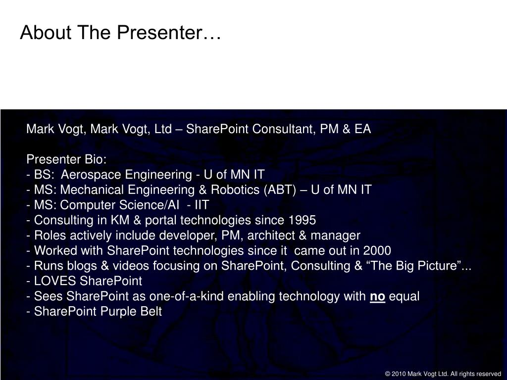 About The Presenter…