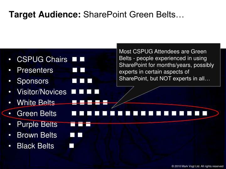 Target audience sharepoint green belts