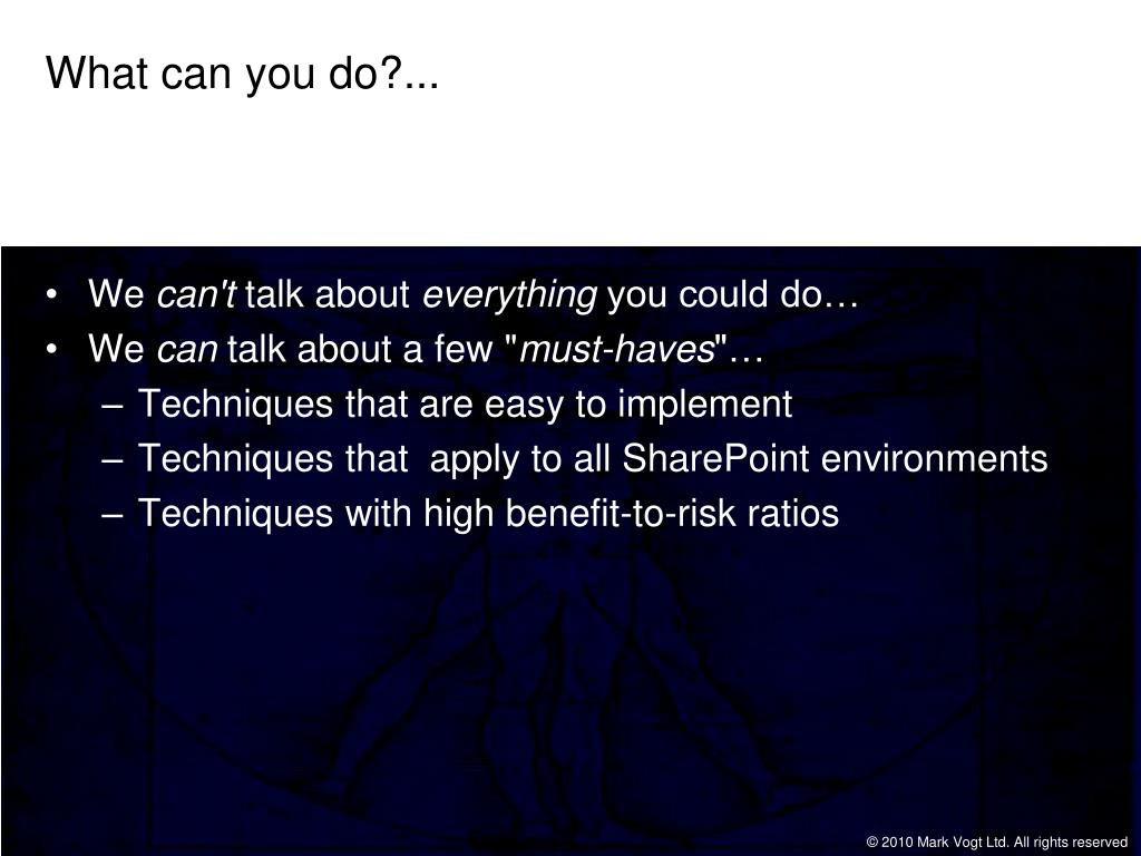 What can you do?...