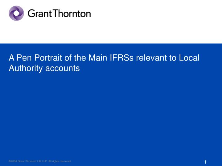 a pen portrait of the main ifrss relevant to local authority accounts