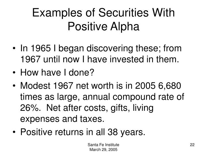 Examples of Securities With Positive Alpha