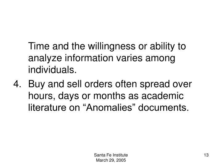 Time and the willingness or ability to analyze information varies among individuals.