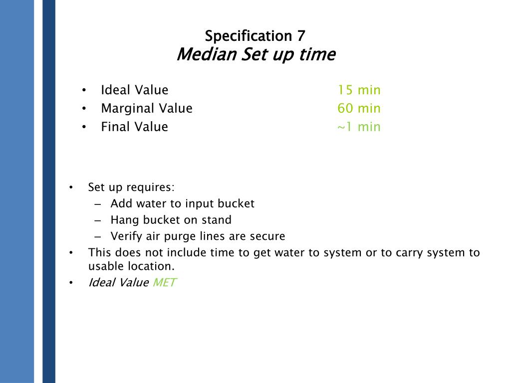Specification 7