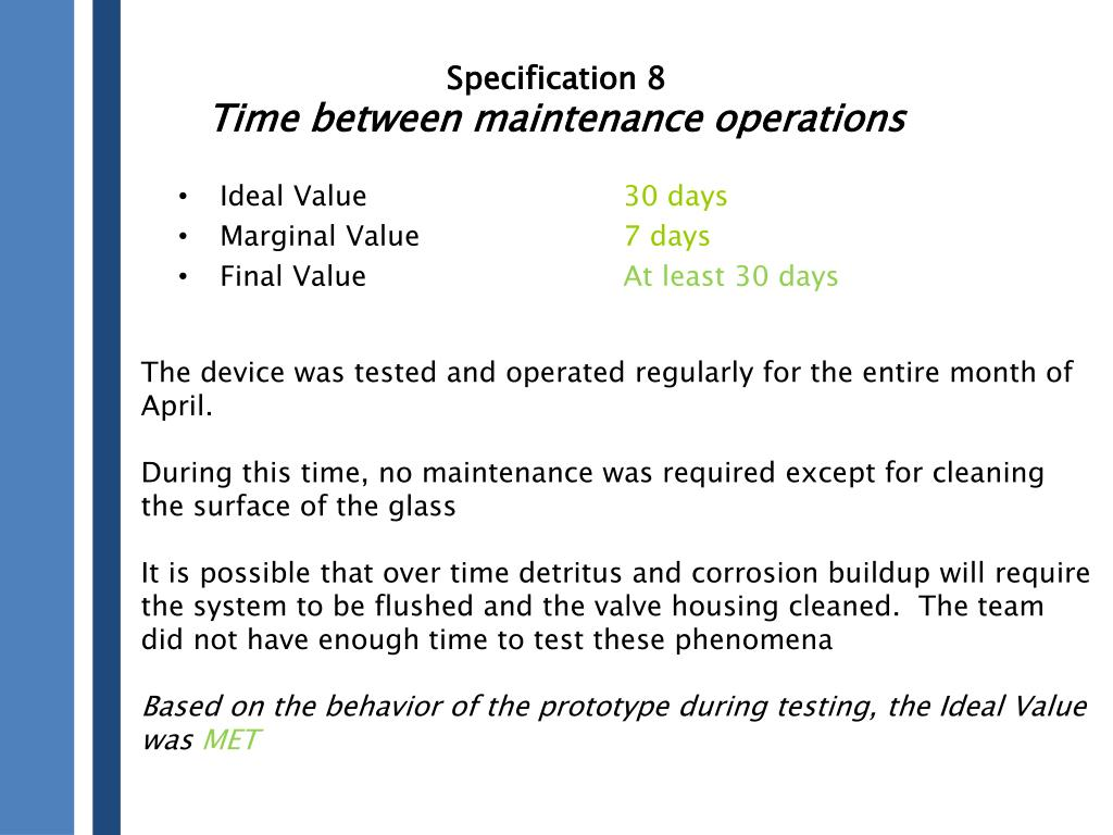 Specification 8