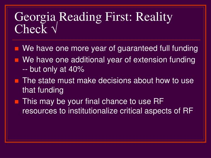 Georgia reading first reality check