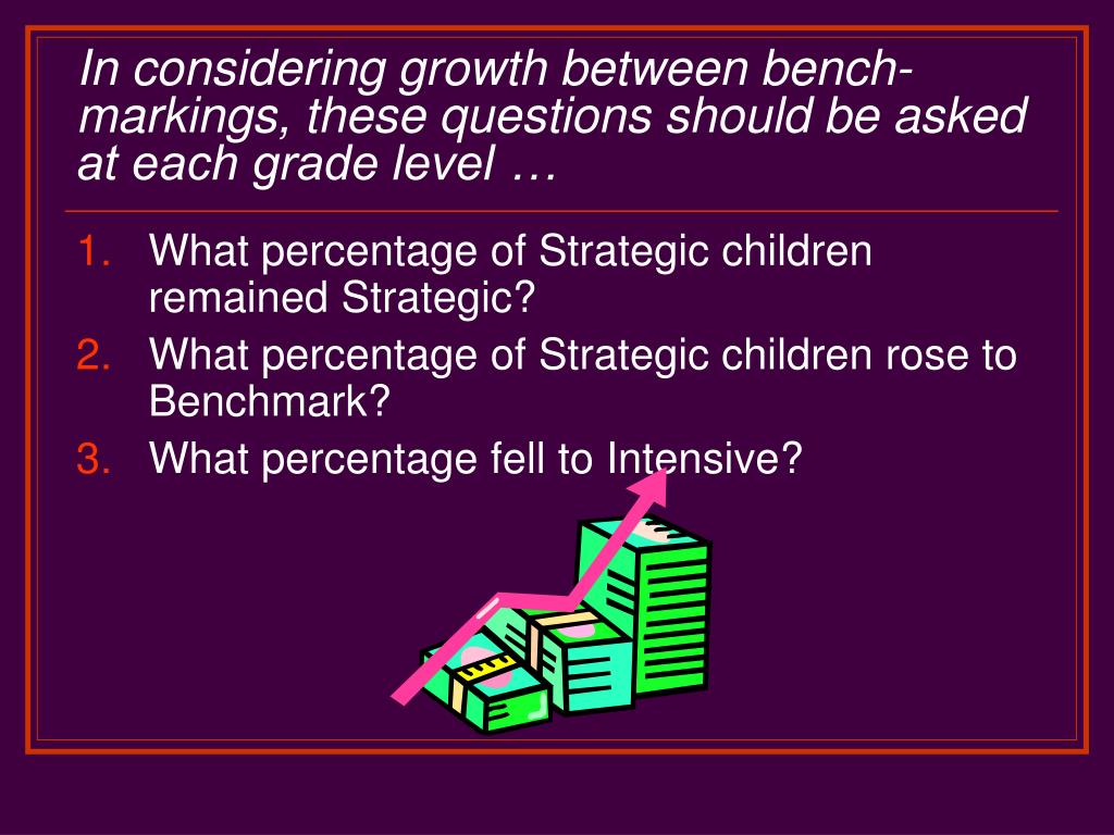 In considering growth between bench-markings, these questions should be asked at each grade level …