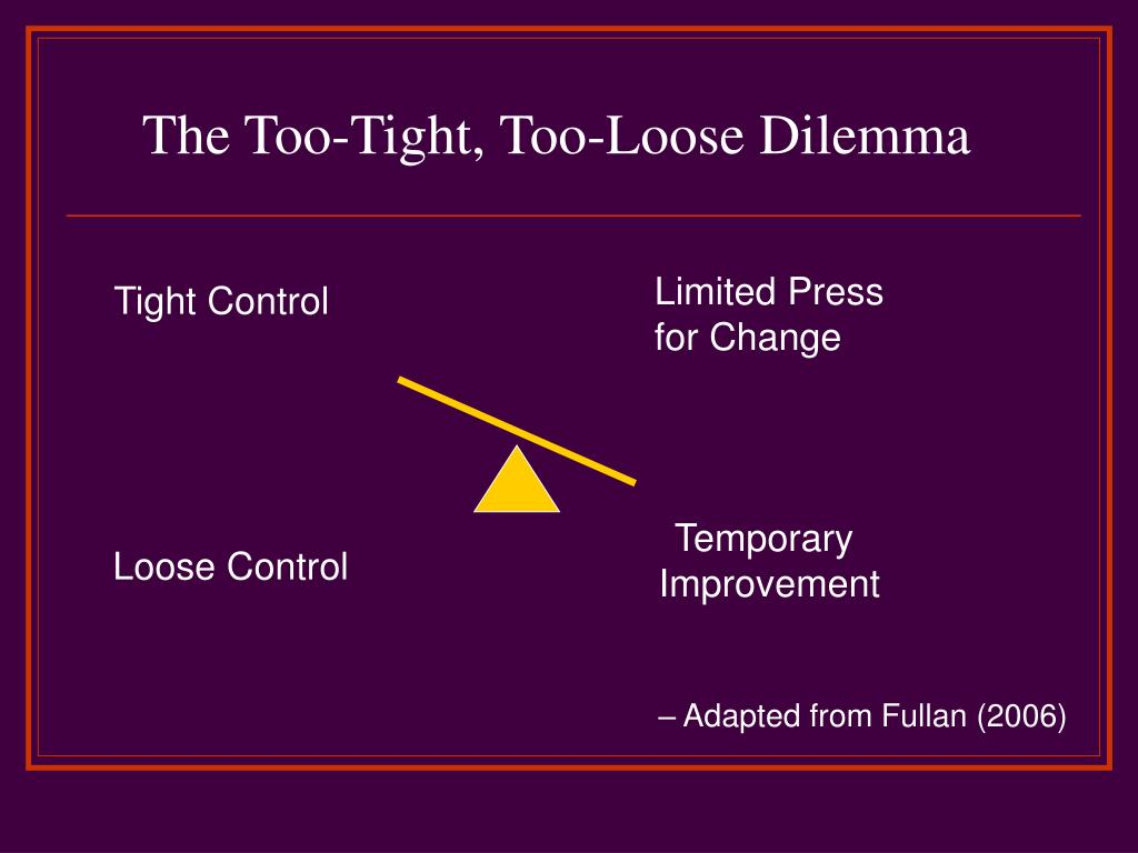 The Too-Tight, Too-Loose Dilemma