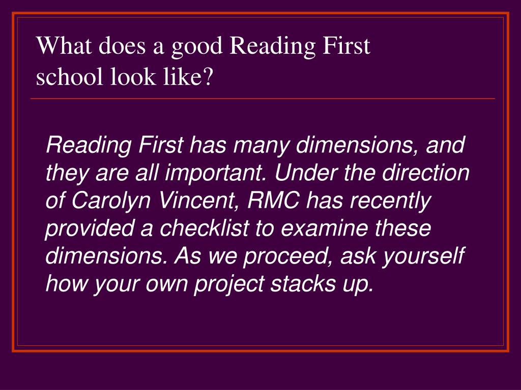 What does a good Reading First