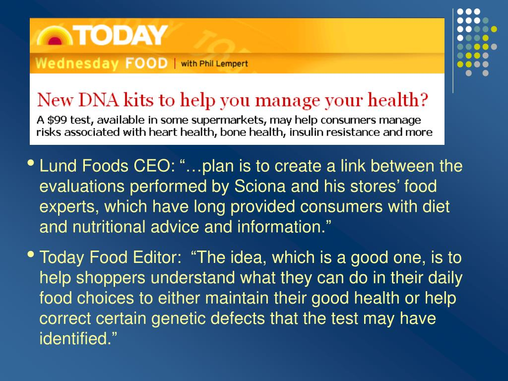 """Lund Foods CEO: """"…plan is to create a link between the evaluations performed by Sciona and his stores' food experts, which have long provided consumers with diet and nutritional advice and information."""""""