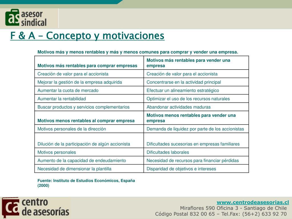 F & A – Concepto y motivaciones