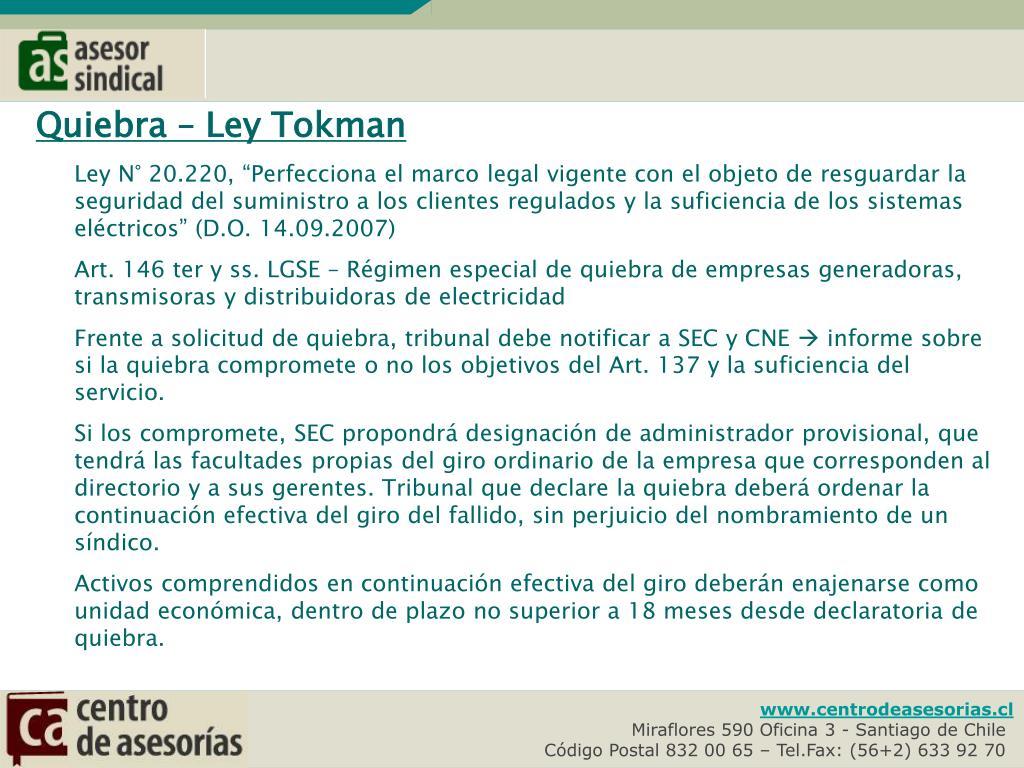 Quiebra – Ley Tokman