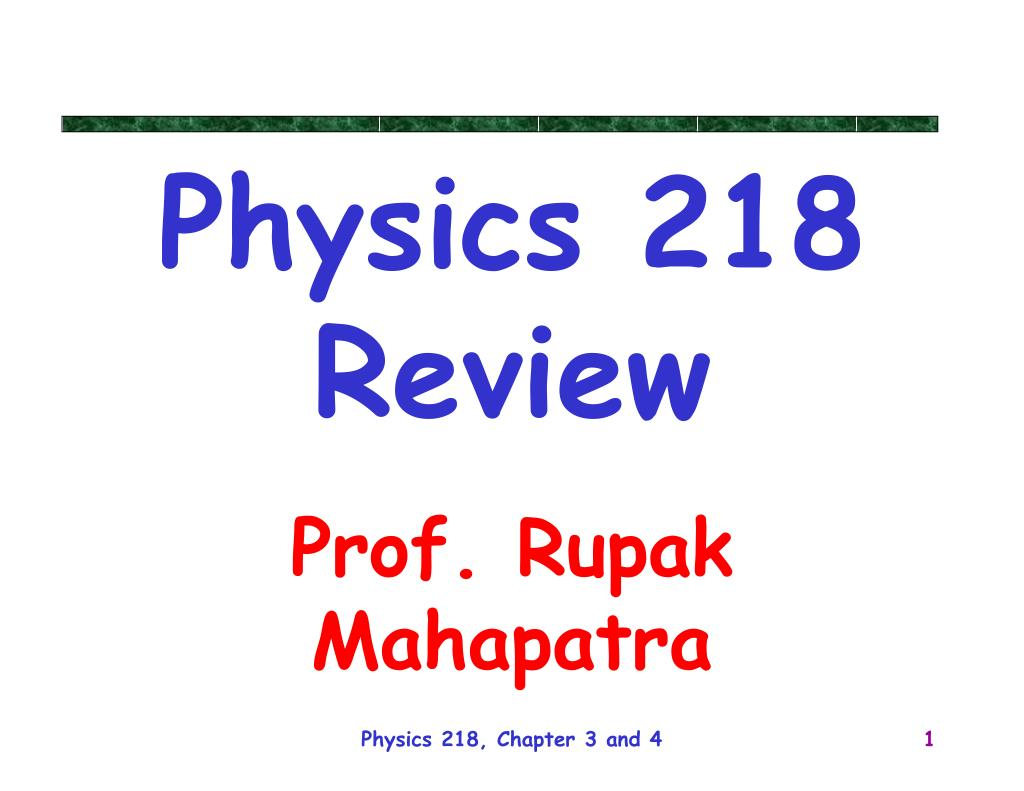 physics 218 review l.