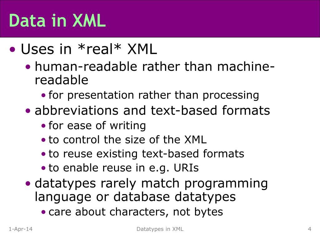 Data in XML