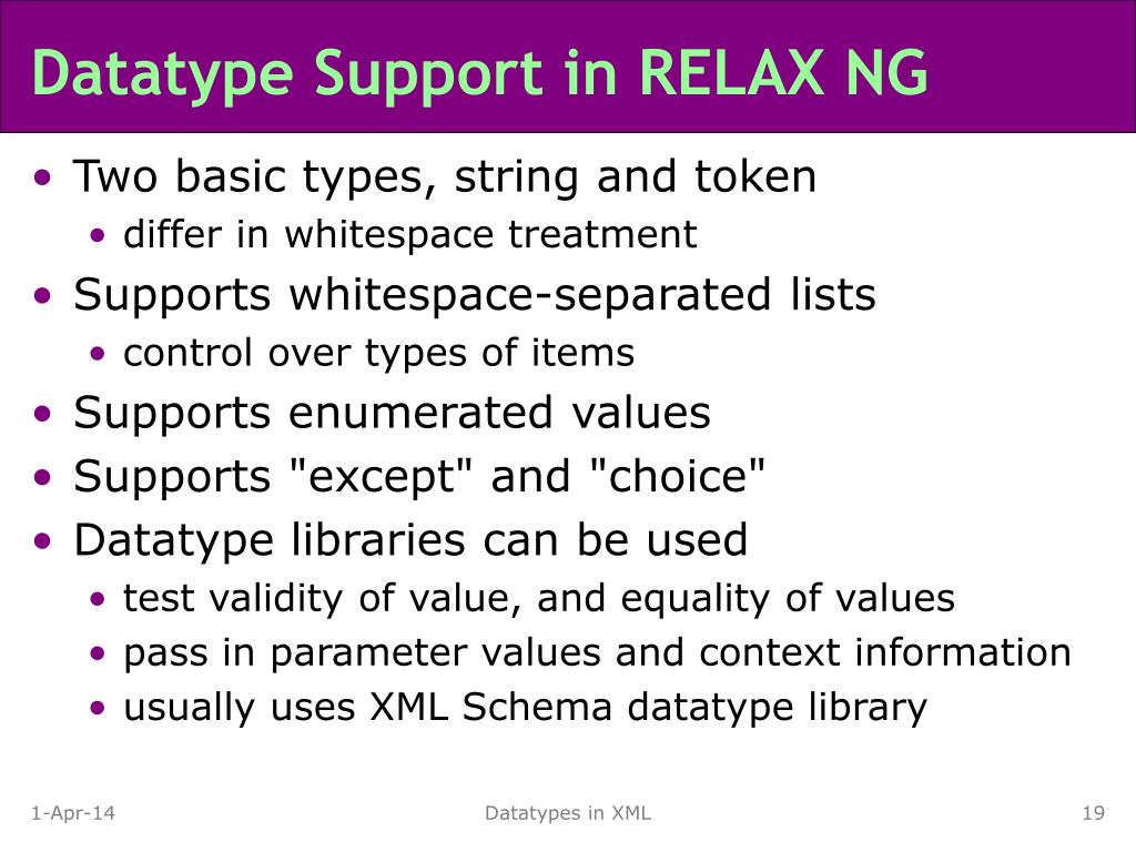 Datatype Support in RELAX NG