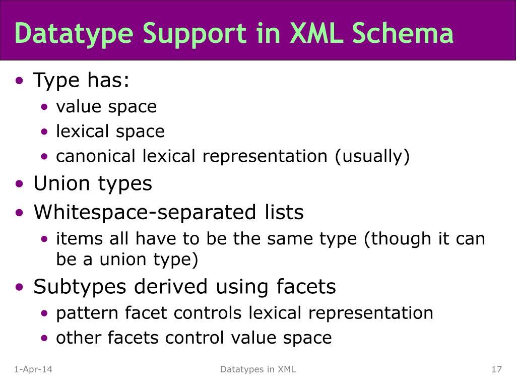Datatype Support in XML Schema