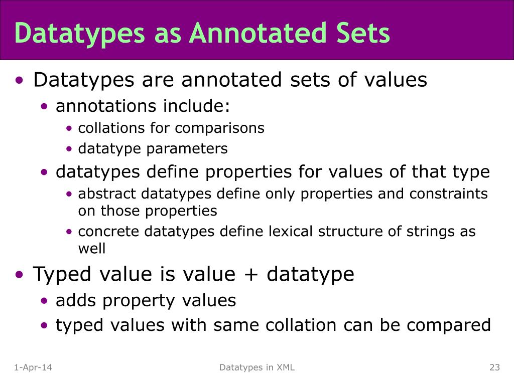 Datatypes as Annotated Sets