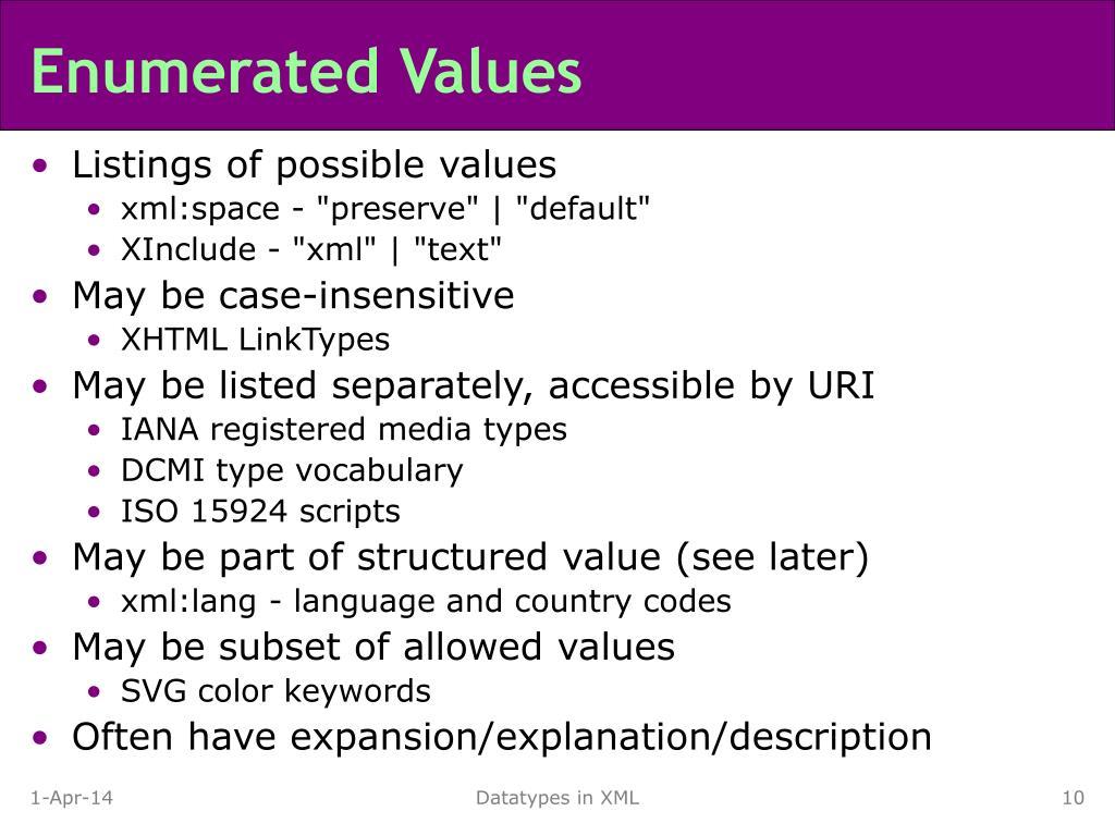 Enumerated Values