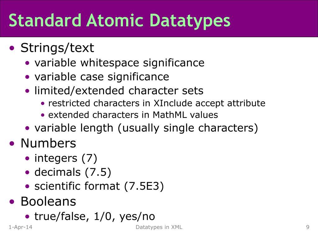 Standard Atomic Datatypes