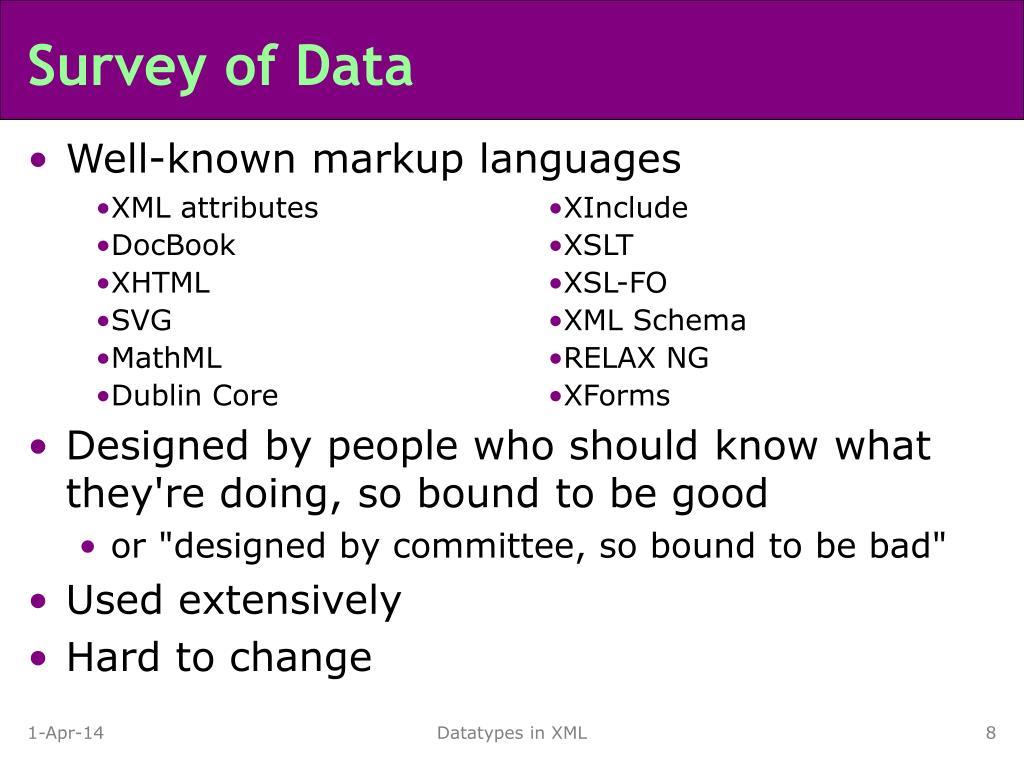 Survey of Data