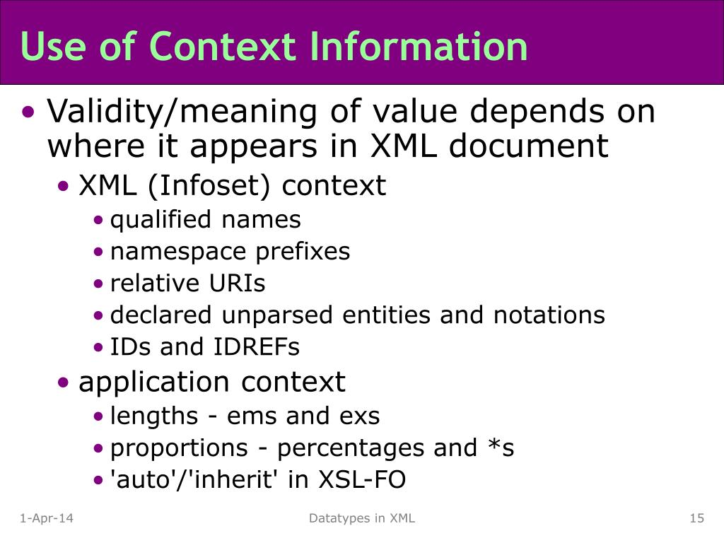 Use of Context Information