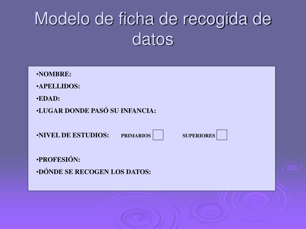 Modelo de ficha de recogida de datos