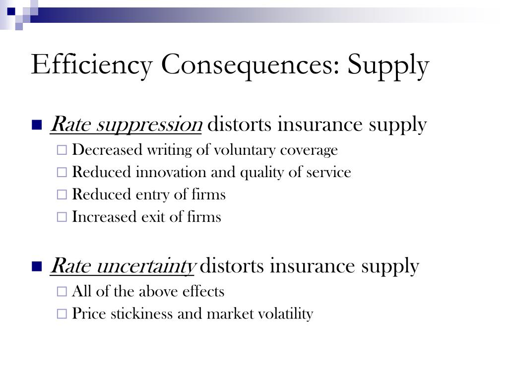 Efficiency Consequences: Supply