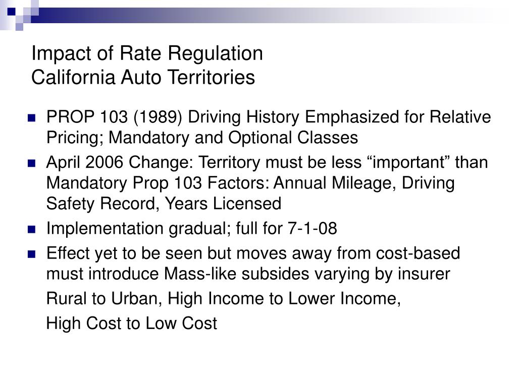 Impact of Rate Regulation