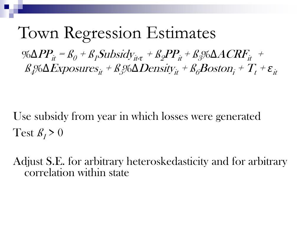 Town Regression Estimates