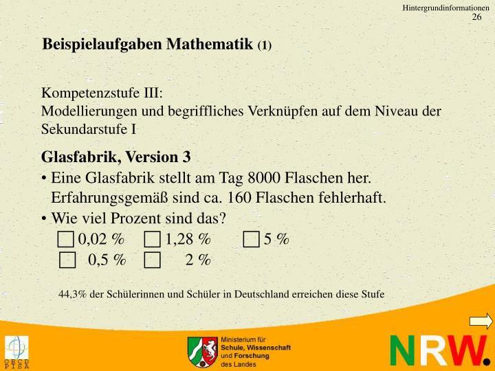 Beispielaufgaben Mathematik