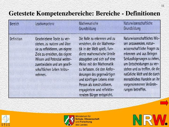 Getestete Kompetenzbereiche: Bereiche - Definitionen