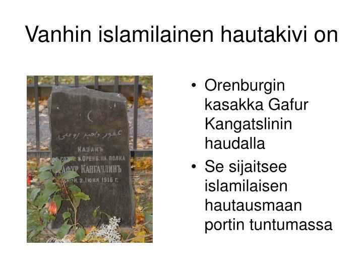 Vanhin islamilainen hautakivi on