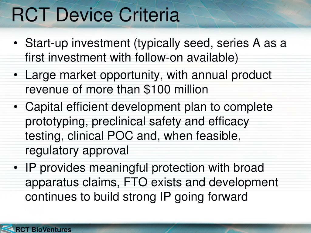 RCT Device Criteria