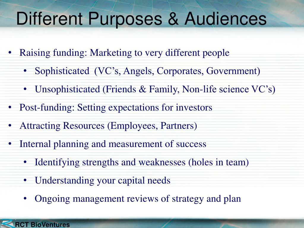Different Purposes & Audiences