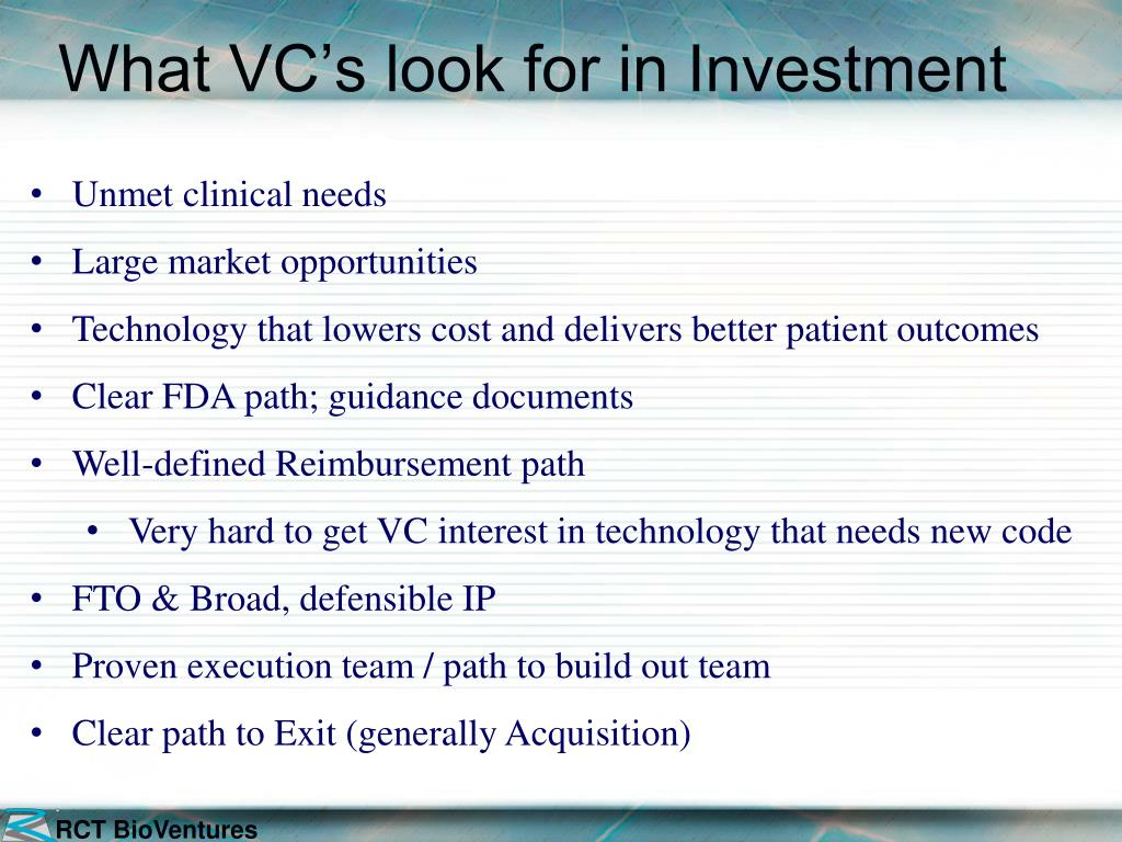 What VC's look for in Investment