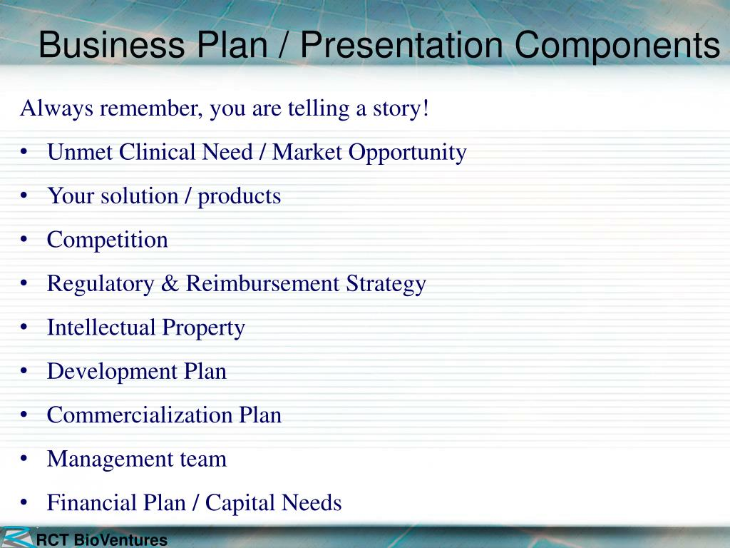Business Plan / Presentation Components