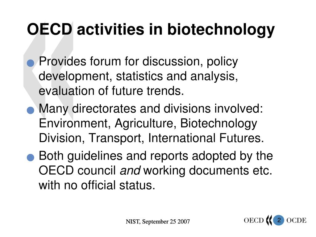 OECD activities in biotechnology