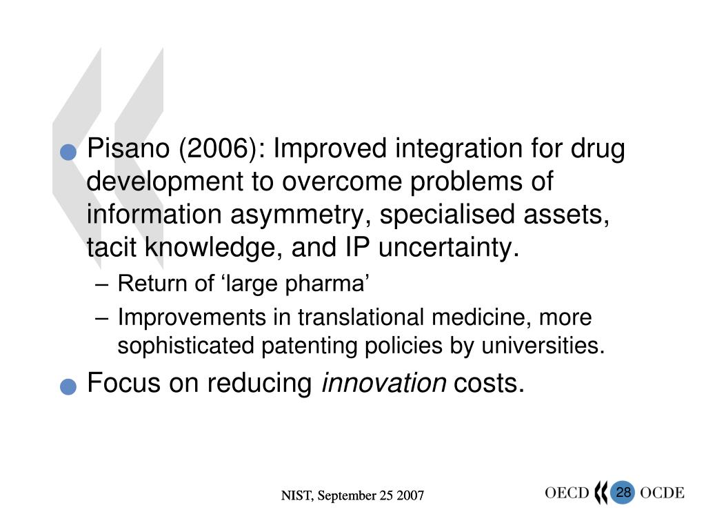 Pisano (2006): Improved integration for drug development to overcome problems of information asymmetry, specialised assets, tacit knowledge, and IP uncertainty.