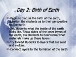 day 2 birth of earth