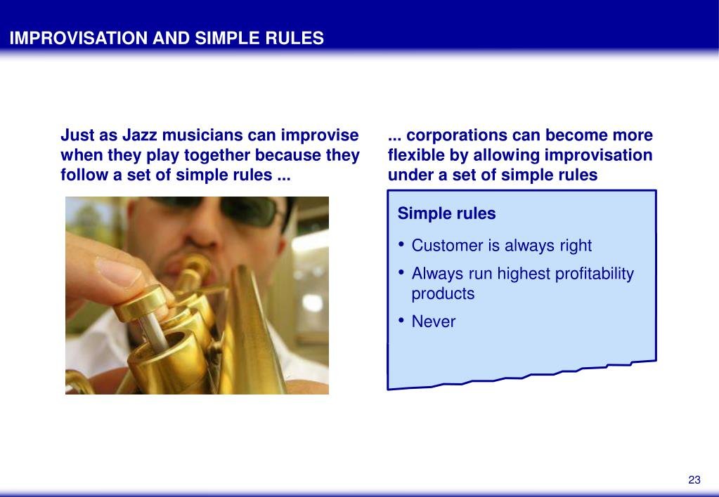 IMPROVISATION AND SIMPLE RULES