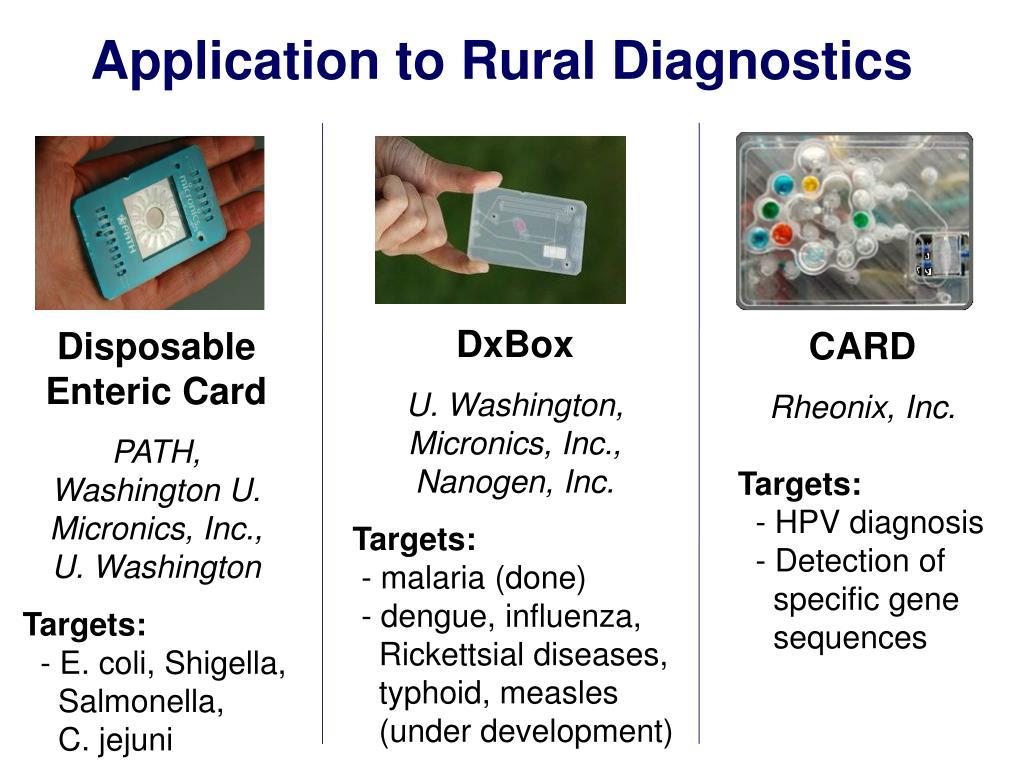 Application to Rural Diagnostics