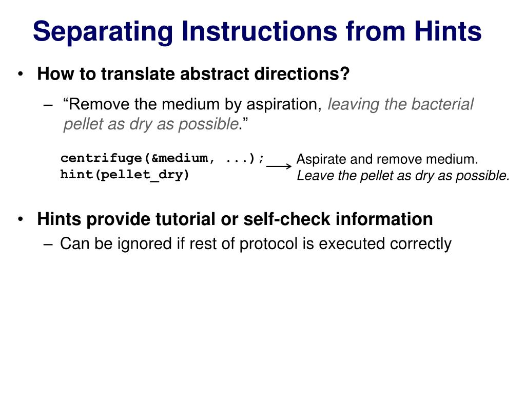Separating Instructions from Hints