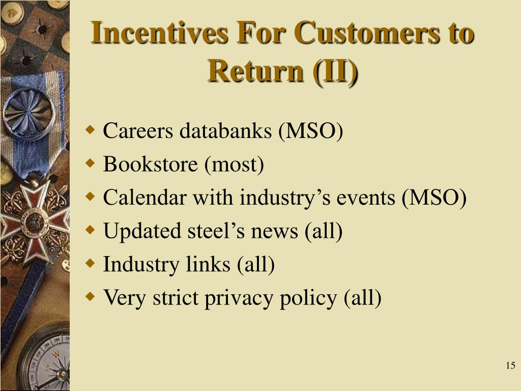 Incentives For Customers to Return (II)