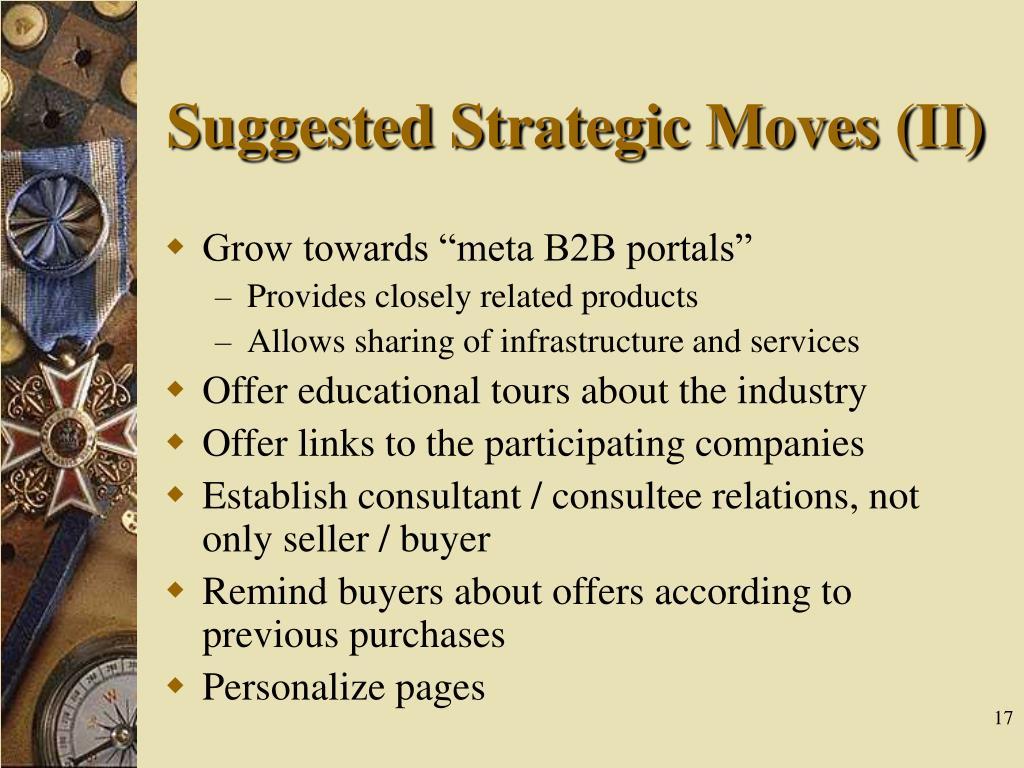 Suggested Strategic Moves (II)
