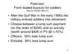 field test front loaded buyouts for soldiers warner pleeter aer 01
