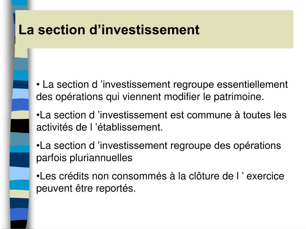 La section d'investissement